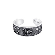 Sterling Silver 925 Sun and Stars Design Toe Ring. Nickel Free Adjustable Fit Solid Band One Size Fits All. Polished