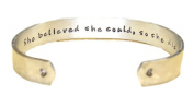 Promotion / Graduation Gift - She believed she could, so she did Custom Hand Stamped Aluminium Cuff Bracelet