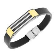 Stainless Steel Black Leather Silver Yellow Gold Two-Tone Twisted Cable Rope Mens Bracelet