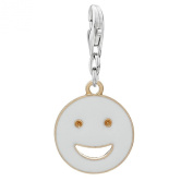 Clip on Round Smiling Face Enamel White Gold Plated Charm Pendant for European Jewellery w/ Lobster Clasp