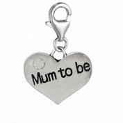 """Clip on """"Mum to Be"""" Two Sided Heart W/crystal Charm Pendant for European Jewellery w/ Lobster Clasp"""
