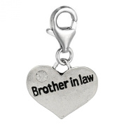 """Clip on """"Brother in Law """" Two Sided Heart W/crystal Charm Pendant for European Jewellery w/ Lobster Clasp"""