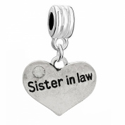 """One (1) """"Sister in Law"""" with Crystals Dangle Style For Snake Chain Bracelets"""