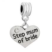 "Dangle ""Step Mum of Bride"" Two Sided Heart W/crystal Charm Pendant for European Snake Chain Bracelets"