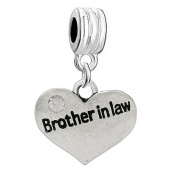 """One (1) """"Brother in Law"""" with Crystals Dangle Style For Snake Chain Bracelets"""