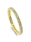 Sterling Silver Yellow Gold Plated Classy Stackable Ring with Clear Simulated Crystals on Square Half-Bezel Setting with Rhodium Finish, Band Width 2MM - Crazy2Shop