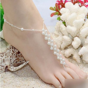 HuaYang Crystal Imitation Pearl Diamond Knitted Barefoot Sandals Adorn Extensible Foot Ring Anklet Chain