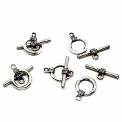 19 Complete Antiqued Silver Pewter Toggle Clasps 15mm Loop, 22mm Bar, Jewellery Findings