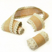 3 Rolls - 5.1cm x 180cm Burlap Wire Edge Ribbon with Lace for Weddings - by Jubilee Creative Studio