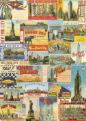 Cavallini & Co. New York City Postcards Decorative Decoupage Poster Wrapping Paper Sheet