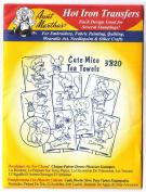 Cute Mice Tea Towels Aunt Martha's Hot Iron Embroidery Transfer