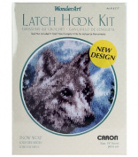 Caron Wonderart Latch Hook Kit 46cm Round - Snow Wolf