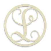 UNFINISHEDWOODCO Single Letter Circle Monogram-L, 48cm , Unfinished