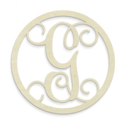 UNFINISHEDWOODCO Single Letter Circle Monogram-G, 48cm , Unfinished