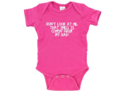 Don't look at me, that smell is comin' from my dad! Funny Baby Bodysuit Hot Pink