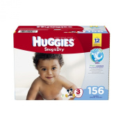 Huggies Snug and Dry Nappies, Size 3, 156 Count