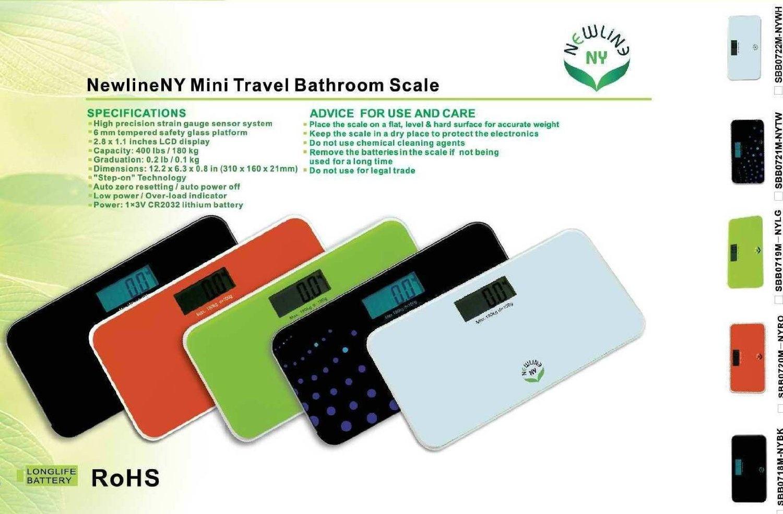 096a886bc05b NewlineNY SBB0718M-NYBK Step-On Mini Travel Bathroom Scale, Cool Black
