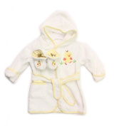 Spasilk 100% Cotton Hooded Terry Bathrobe with Booties, White Duck, 0-9 Months