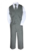 Unotux Formal Boy 4pc Grey Grey Silver Pinstripe Vest Set Suit From Baby to Teen (M: