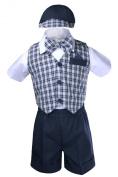 Unotux 5pc Boy Cheques Gingham Eton Formal Navy Blue Short Vest Set Suit Hat S-4T (M: