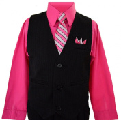Boys Toddlers Fuchsia Pink Pinstripe Vest Suit Dress-wear with Shirt.