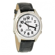 Reizen Talking Atomic Watch-Wht Face-Blk Num-Lth