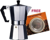 Aluminium Cuban Coffee Maker 1 cup, plus FREE spare gasket and filter set