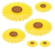 Charles VIANCIN The Sunflower 6pc Universal Silicone Food Storage Suction Lid Set