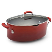 Rachael Ray Porcelain Enamel II Nonstick 7.6l Covered Oval Pasta Pot with Pour Spout, Red Gradient