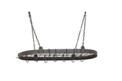 Old Dutch 122GU Oval Pot Rack with 12 Hooks, 90cm by 46cm , Graphite