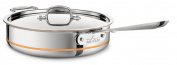 All-Clad 6404 SS Copper Core 5-Ply Bonded Dishwasher Safe 3.8l Saute Pan Cookware, Silver