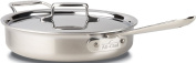 All-Clad BD55403 D5 Stainless Steel Brushed 5-Ply Bonded Dishwasher Safe Saute Pan with Lid Cookware, 2.8l, Silver