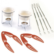 Crab and Lobster Serving Set for Two Including Two (2) Red Stainless Steel Crab/ Lobster/ Shellfish Crackers, 2 Ceramic Butter Warmers, and 4 Stainless Steel Seafood Forks/picks by Norpro