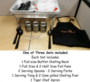 Tiger Chef Chafer Set Full Size Disposable Wire Chafer Stand Kit Best Party Chafer Kit 40 Piece Set includes White Waitress Gloves