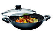 STONELINE Wok With Glass Lid, 32 cm, Anthracite