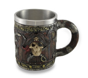 Wood Look Pirate Skull Drinking Tankard Gothic Coffee Cup Mug