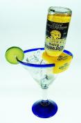 Mexican Glass Margarita Blue Rim 590ml with Coronarita Holders