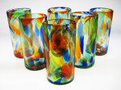 Mexican Glass Confetti Swirl Tumblers 590ml Set of 6