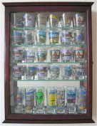 36 Shot Glass Display Case Wall Cabinet Holder Rack - Cherry Finish