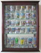 36 Shot Glass Display Case Wall Cabinet Holder Rack - Cherry Finish