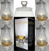 FOUR OFFICIAL GLENCAIRN WHISKY GLASSES WITH FOUR GINGER JAR TOPS