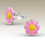 Children Silver Earrings, Daisy Ear Studs , Stering Silver, Pink