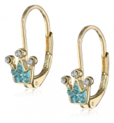 Molly Glitz Girls' 14k Gold-Plated Crystal Crown Leverback Earrings