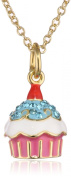 Molly Glitz Girls' 14K Gold Plated Crystal Cherry Top Cupcake Pendant Necklace, 36cm