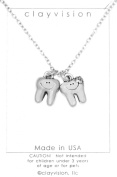 Clayvision Happy Girl and Boy Tooth Dentist Dental Hygienist Charm Necklace