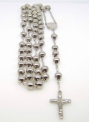Mens Stainless Steel Silver Tone Rosary Chain Necklace with Cross 8MM