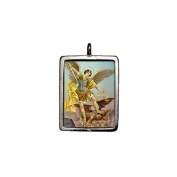 Saint Michael the Archangel Full Colour Enamelled Pendant With Mini Cross on Red / Black Corded Necklace