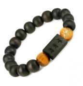 10MM Luos Tibetan Buddhist Prayer Mala Black Wood Bracelet Ping An Fu- W013