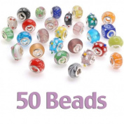 50-PieceLampworkGlassEuropeanStyleBeads,AssortedShapesandColors