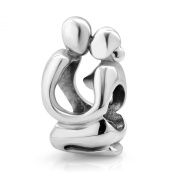 925 Sterling Silver Valentines Cute Lover Kissing Couple Love Bead Charm Fits Pandora Bracelet
